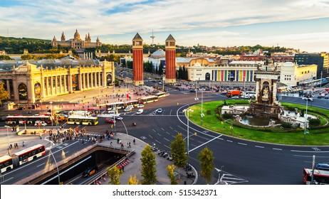Barcelona, Spain. Spanish Square aerial view during the day. This is the famous place with traffic light trails, fountain and Venetian towers, and National museum at the background in Barcelona