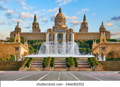 Barcelona, Spain. Spanish Square with fountain at summer day