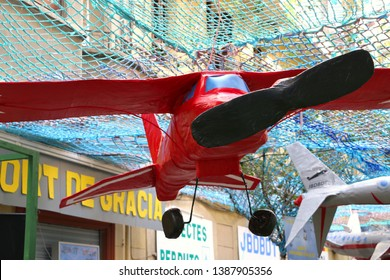 Barcelona, Spain - August 20, 2015: Tibidabo airplaine as part of the Gracia Festival (Festes de Gracia) where there is a contest for the best garnished street.