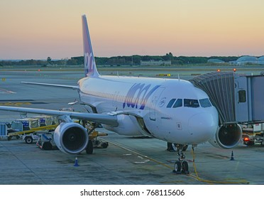 BARCELONA, SPAIN-3 DEC 2017- Exterior view of an airplane from Joon (JN). Joon is a French airline subsidiary of Air France (AF) aimed at young people launched in December 2017.