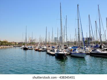 BARCELONA, SPAIN-AUGUST 11,2013:Pierce marina in Barcelona