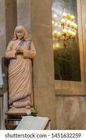 BARCELONA, SPAIN-JUNE 20,2019: Interior of church of Santa Anna. Religious image figure of Mother Teresa, Saint Teresa of Calcutta.