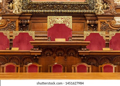 BARCELONA, SPAIN-JUNE 20,2019: Interior of City Hall, Ajuntament of Barcelona. Salo de la Reina ( Queen´s hall), municipal plenary sessions.