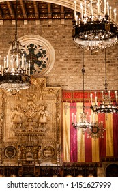 BARCELONA, SPAIN-JUNE 20,2019: Interior of City Hall, Ajuntament of Barcelona. Historic and medieval Salo de Cent.