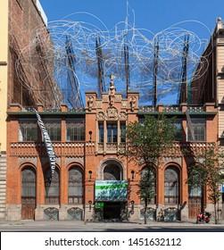 BARCELONA, SPAIN-JUNE 23,2019: Art Foundation, Fundacio Antoni Tapies, old modernist building designed by Lluis Domenech i Montaner, Eixample district.
