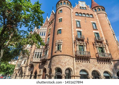 BARCELONA, SPAIN-JUNE 23,2019: Modernist style building, House, Casa de les Punxes or Casa Terrades, designed by Josep Puig i Cadafalch, Eixample district.