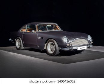BARCELONA, SPAIN-MAY 11, 2019: 1964 Aston Martin DB5 (James Bond films) at the 100 years of the Automobile Exhibition