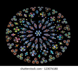 BARCELONA, SPAIN--OCTOBER 19:Large rose stained glass window in St Maria del Pi, Saint Mary of Pine Tree, in Barcelona, Catalonia, Spain on October 19, 2012.