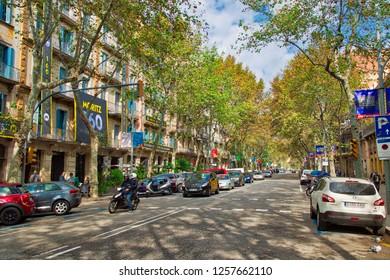 Barcelona, Spain-September 16, 2017: Barcelona streets in historic city center near famous Las Ramblas district