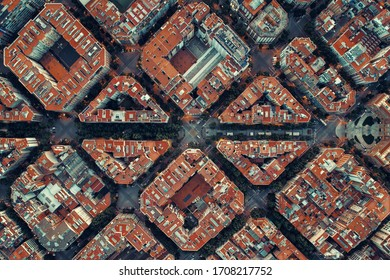 Barcelona street aerial view with beautiful patterns in Spain.