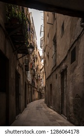 Barcelona streets, in the Gothic district with dim light and atmosphere of serenity