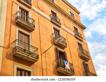 Barcelona streets in historic Las Ramblas quarter
