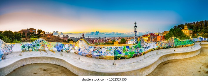 Barcelona at sunrise viewed from public park Guell, Spain