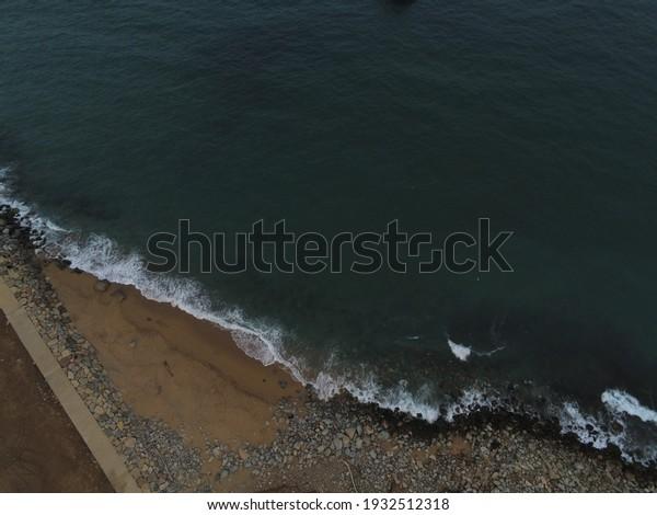 Barcelona. Three Chimneys in beach. Sant Adria del Besos.Badalona. Aerial View