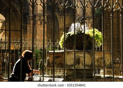 Barcelona. Woman washing her hands in Saint George fountain of Cathedral garden.