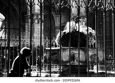 Barcelona. Woman washing her hands in Saint George fountain of Cathedral garden. Black and white photo.