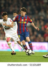 BARCELONA-APRIL 14: Leo Messi of Barcelona in action during a Spanish League match between FC Barcelona and RC Deportivo at the Nou Camp Stadium on April 14, 2010 in Barcelona, Spain