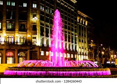 Barcelona/Catalonia - May 2018: a pink fountain on the crossroad of Barcelona streets Passeig de Gracia y Gran Via de Les Corts Catalanes