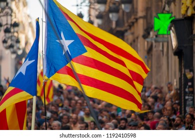 Barcelona,Catalonia,Spain. 29 September, 2018. People Claiming for Independence Rights in Barcelona Center.