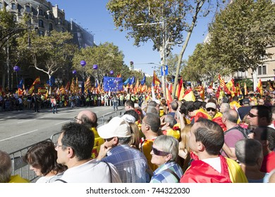 BARCELONA,CATALONIA,SPAIN,29-october-2017 millions of people manifest peacefully by the unity of Spain with Catalonia against the unilateral declaration of independence