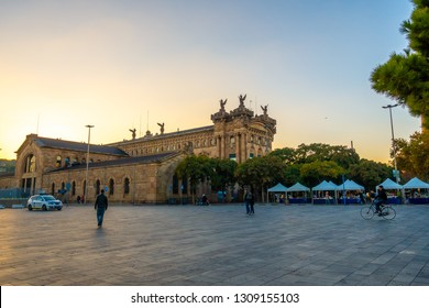 Barcelona,Catalunya,Spain - Nov 30,2018 - Port Authority Admiral Historic Authority building. The old Customs building in the new Port Vell marina walkway