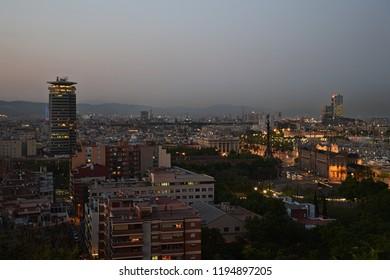 Barcelona's city scape by night