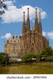 Barcelona's famous cathedral La Sagrada Familia which was started to be built-up in 1882. This image shows how beautiful it might look like without too many of all the scaffolding and cranes around.