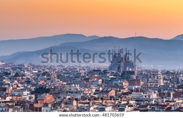 Barcelona,Sagrada familia at sunrise.Spain