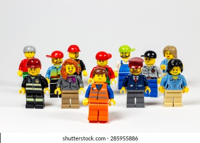 Barcelona,Spain. 08 June 2015. Group of Legos different kind of people. Legos are a popular line of plastic construction toys manufactured by The Lego Group in Denmark