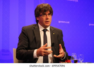 BARCELONA/SPAIN - 20 AUGUST 2017: Catalan president Carles Puigdemont in a meeting with the foreign press answering questions about the terrorist attack in Barcelona.Credit:Dino Geromella