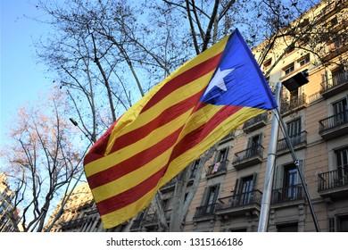Barcelona/Spain, 2019-02-16. Catalan secessionist flag