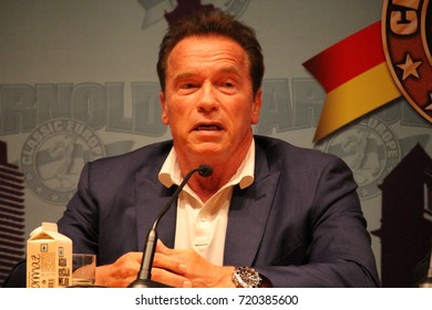 """BARCELONA/SPAIN - 22 SEPTEMBER 2017: Former governor of the state of California Arnold Schwarzenegger participating at the press conference at the opening of the 7th edition of """"Arnold Classic Europe"""""""