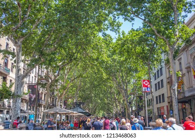 Barcelona/Spain - 25th May  2018 : La Rambla in Barcelona