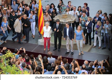 BARCELONA/SPAIN - 28 SEPTEMBER 2017: Catalan president Puigdemont receiving the people that will open schools on October 1st in order to permit to vote in an incostitutional secession referendum