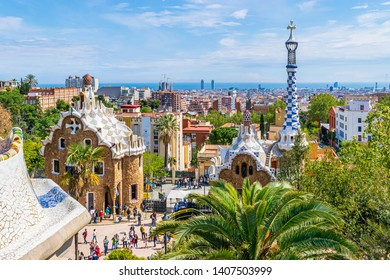 BARCELONA,SPAIN - APRIL 11, 2019: View of the city  from park Guell by Antonio Gaudi