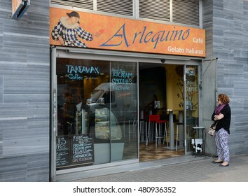 BARCELONA,SPAIN -  MAY 30, 2013:Barcelona is the second largest city in Spain, the capital of the Autonomous region of Catalonia and of the province.Cafes in Barcelona.