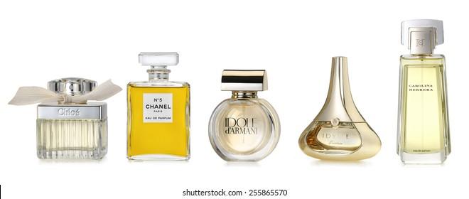 Barcelona-Spain- October 2014: Luxury fragrances for stylish woman.  Fine and luxury brands:  CHLOE,  CHANEL Number 5, IDOLE by Armani, IDYLLE by Guerlain, CAROLINA HERRERA