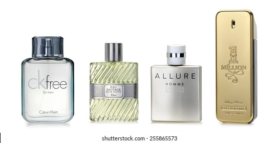 Barcelona-Spain- October 2014: Luxury fragrances for stylish man.  Fine and luxury brands: CK free by Calvin Klein, Eau Sauvage by C. Dior, Allaure Edition Blanche by Chanel, One Millon Paco Rabanne