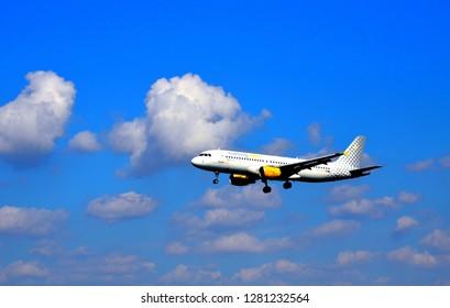 Barcelona-Spain, September 30 2018. Vueling, Airbus A320 landing at Barcelona El Prat Airport