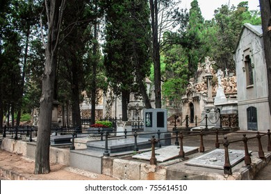 BARCELONA,SPAIN. SEPTEMBER 4, 2017. View of Montjuic Cemetery on September 4, 2017 in Barcelona ,Spain.The cemetery contains over one million burials and cremation ashes in its 500 square meters.