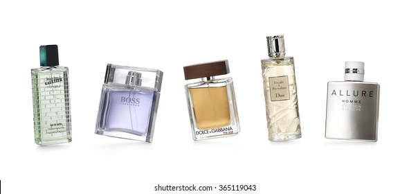 Barcelona-Spain-12 th December 2015- Studio shot of distinguished perfume brands for women and men photographed in a dynamic and funny positions. JPGaultier-Hugo Boss-Dolce&Gabbana-Dior-Chanel