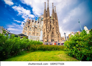 BARCELONA,SPAIN-29.04.2017:La Sagrada Familia-impressive cathedral designed by Gaudi, which is being build since 19 March 1882