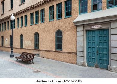 BARCELONA,SPAIN-APRIL 14,2019: Recinte Escola Industrial, Industrial complex. Old Can Batllo factory built according to a Rafael Guastavino project. Nowadays hosts some education and cultural building