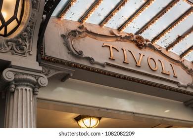 BARCELONA,SPAIN-APRIL 22,2016:Detail entrance theater Tivoli in Casp street, eixample quarter of Barcelona.