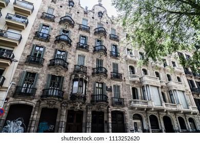 BARCELONA,SPAIN-APRIL 22,2018: Modernist building, Casa Calvet by Antoni Gaudi, Eixample quarter of Barcelona.