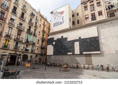 BARCELONA,SPAIN-APRIL 22,2018: Street view, El Raval quarter in historic center of Barcelona.