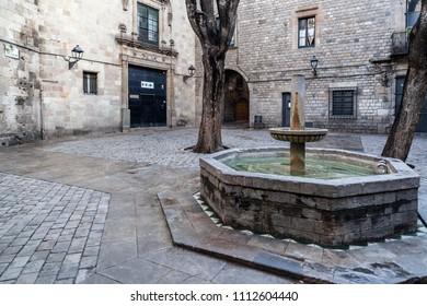BARCELONA,SPAIN-APRIL 30,2012: Street view, square Sant Felip Neri in gothic quarter of Barcelona.