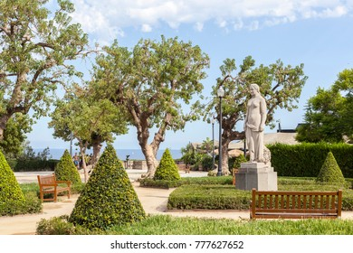 BARCELONA,SPAIN-AUGUST 23,2017:Public garden, jardins miramar, montjuic park, Barcelona.