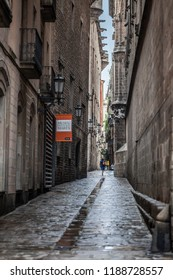 BARCELONA,SPAIN-AUGUST 31,2018:Ancient street, gothic quarter of Barcelona.