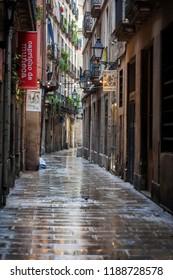 BARCELONA,SPAIN-AUGUST 31,2018:Ancient street, gothic quarter of Barcelona.